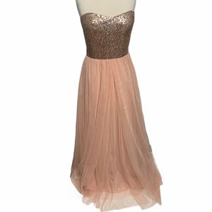 Christina Wu Long Sequin Gown Blush Rose Gold 14